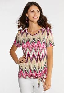 Plus Size Chevron Knotted Top