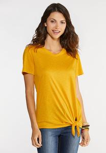 Plus Size Tie Front V-Neck Tee