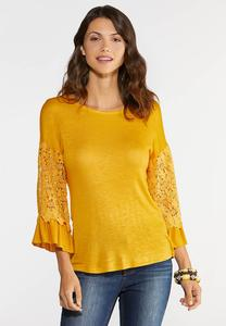 Plus Size Lace Sleeve Knit Top