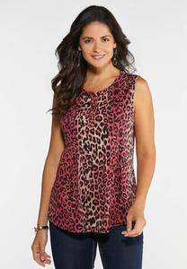 Plus Size Bright Leopard Swing Tank