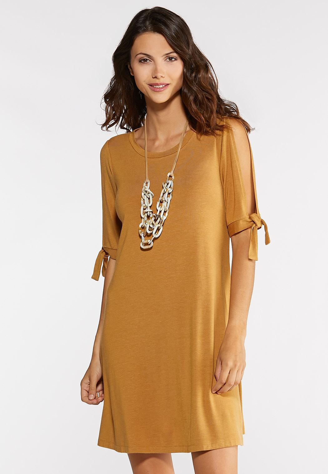 Plus Size Tie Split Sleeve Dress