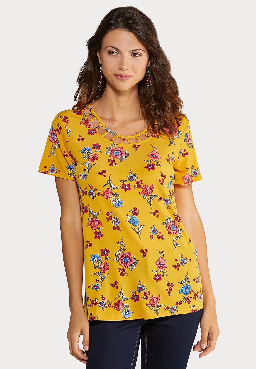 Plus Size Floral Lattice Top