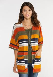 Plus Size Striped Knit Kimono Cardigan