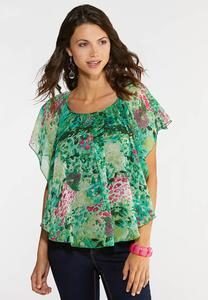 Plus Size Flower Garden Capelet Top