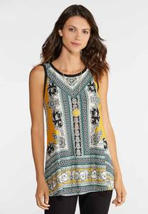 Plus Size Ornate Puff Print Tank