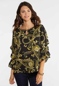 Plus Size Status Print Ruffle Top