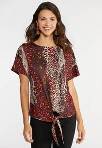 Plus Size Fiery Leopard Pullover Top