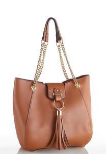 Chain Strap Tasseled Hobo Handbag