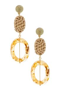 Resin And Raffia Dangle Earrings