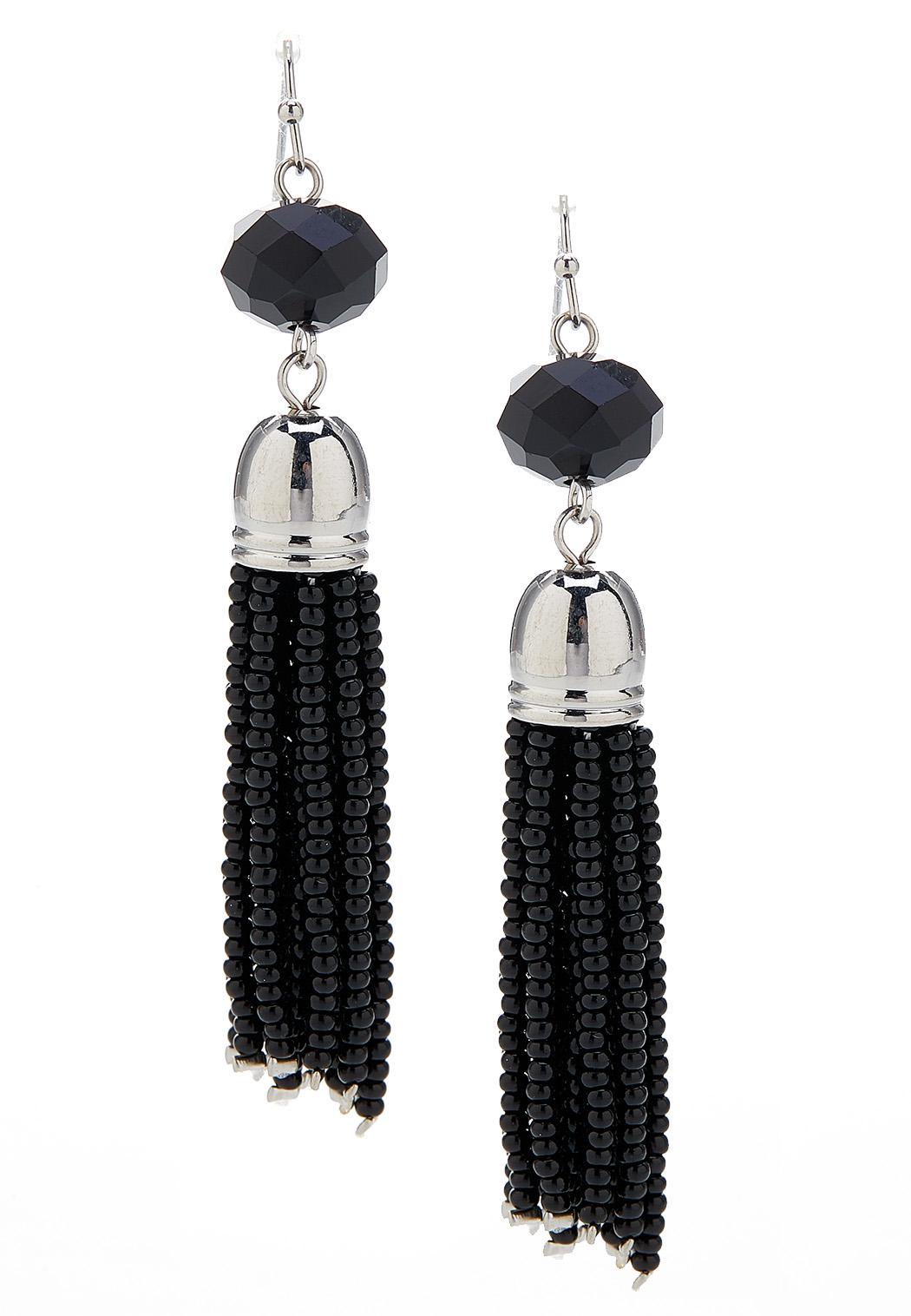 Black Shaky Tassel Earrings