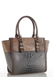 Two-Tone Croc Satchel