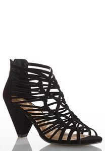 Wide Width Caged Cone Heel Sandals