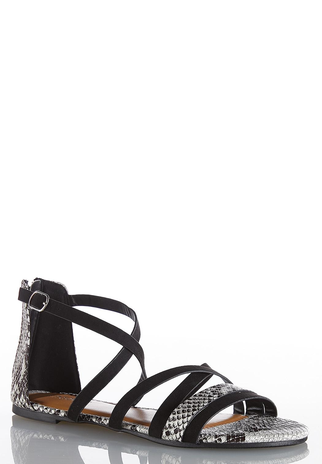 Animal Print Crossband Sandals