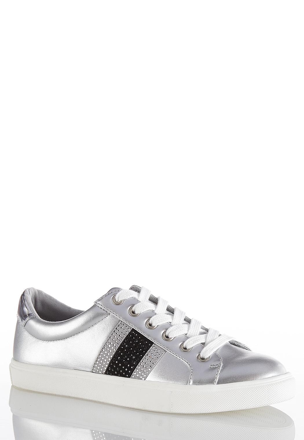 Embellished Silver Sneakers