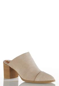 Wide Width Snakeskin Textured Mules