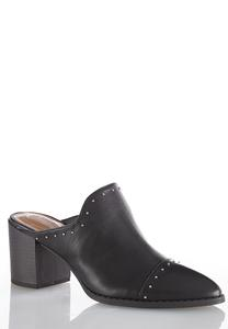 Stud Trim Heeled Mules