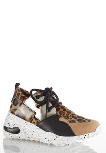 Leopard Mix Wedge Sneakers