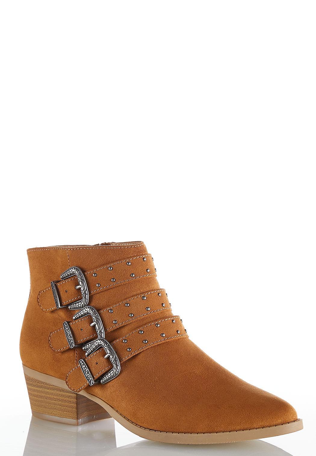 Wide Width Western Buckle Ankle Boots
