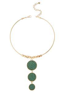 Graduated Raffia Disc Necklace