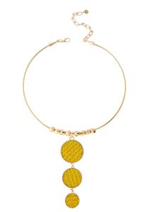 Graduated Raffia Disc Necklace