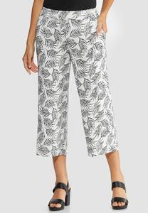 Cropped Leaf Palazzo Pants