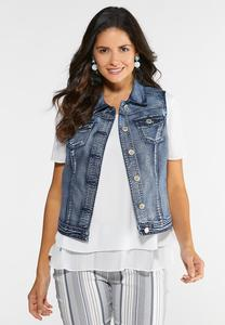Plus Size Washed Denim Vest