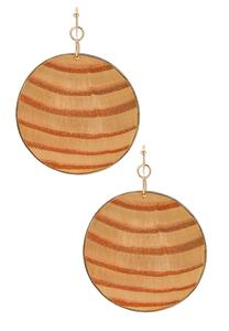 Striped Wood Disc Earrings