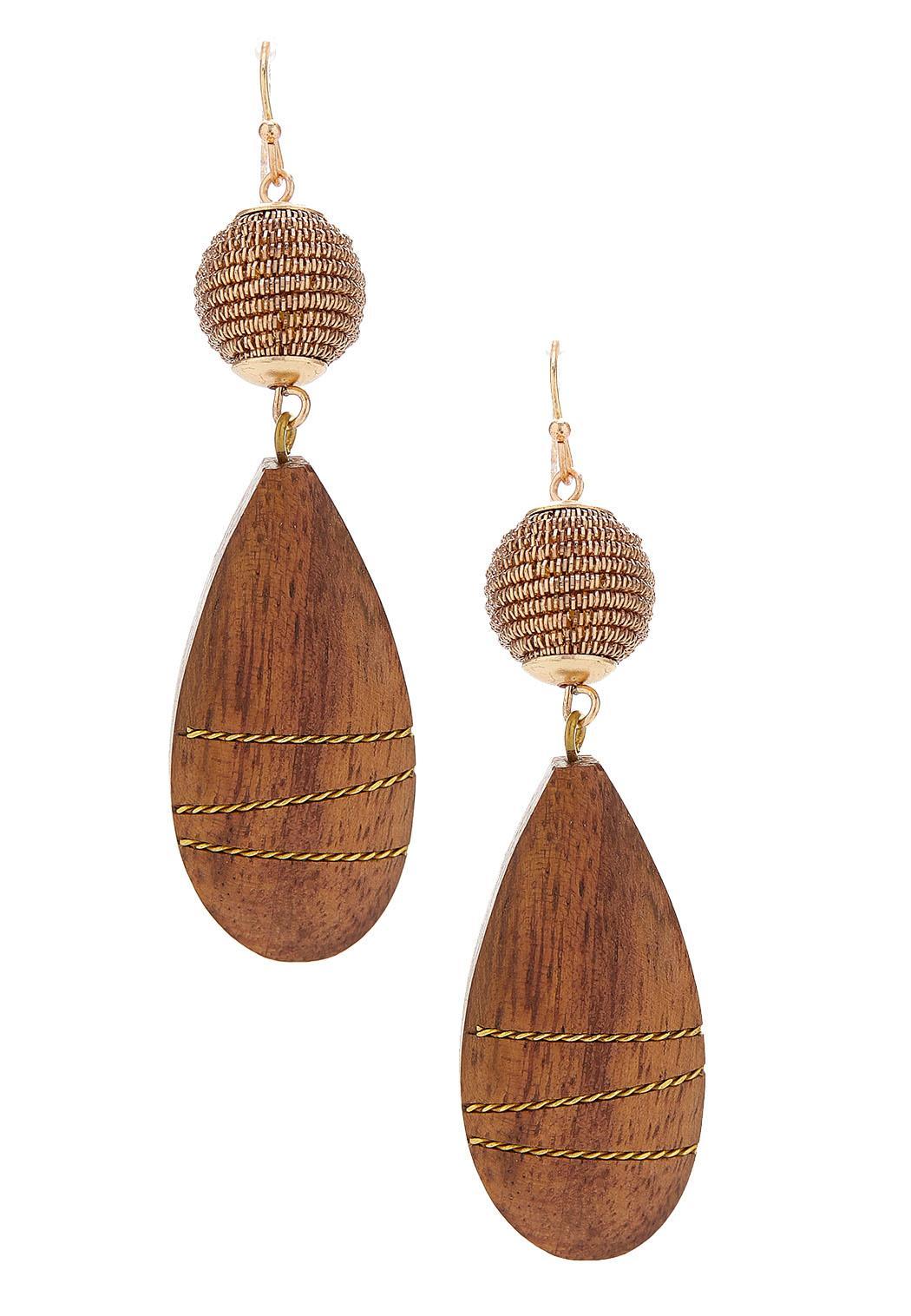 Dangle Wooden Tear Earrings