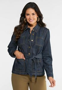 Tie Waist Denim Jacket