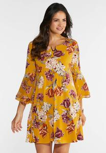 Plus Size Floral Hardware Swing Dress