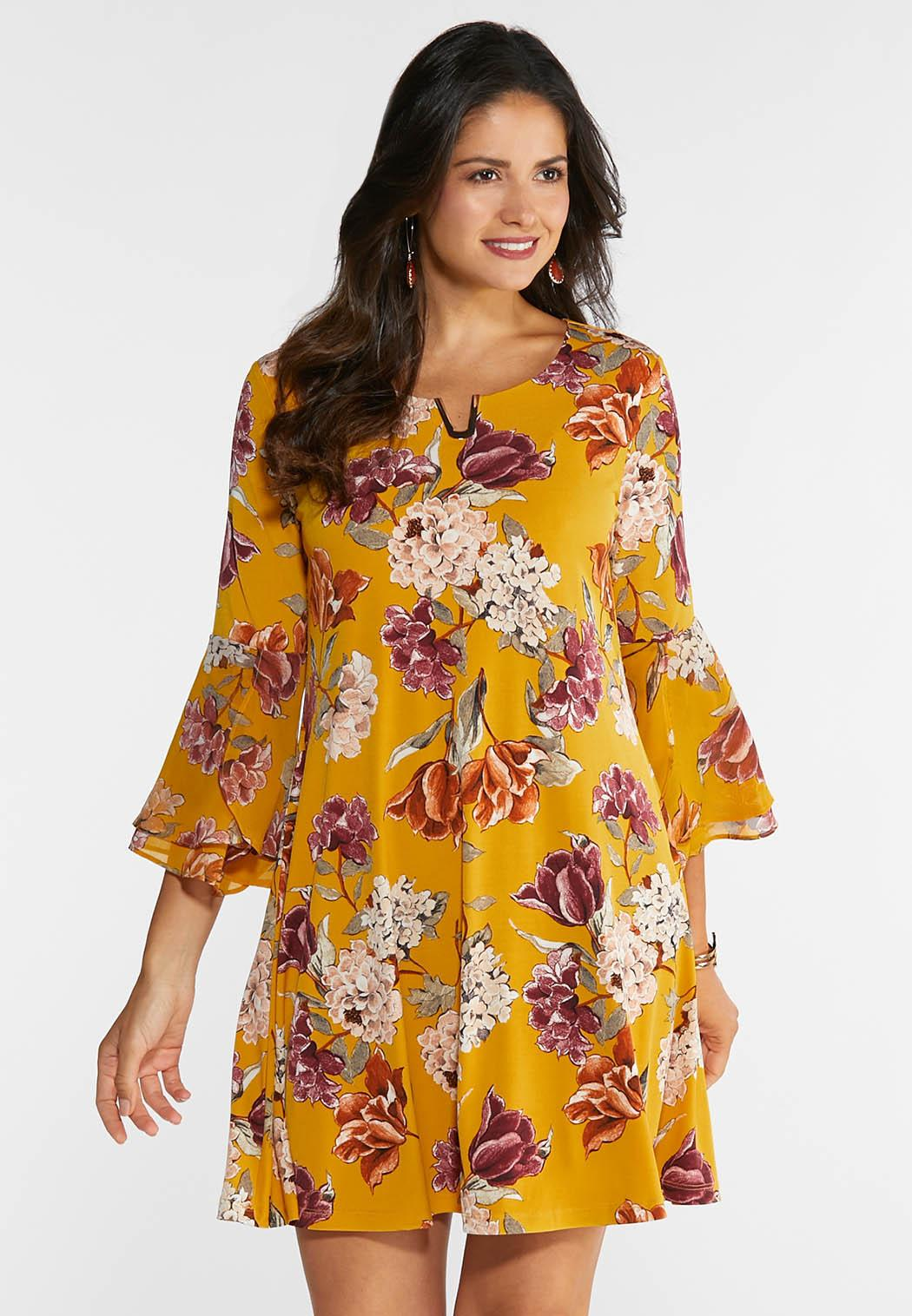 Plus Size Floral Hardware Swing Dress A- Line & Amp ; Swing Cato Fashions