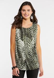 Plus Size Olive Animal Print Top