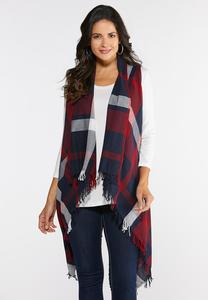 Plus Size Fringe Plaid Vest