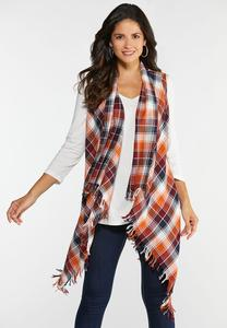 Plus Size Frayed Plaid Vest
