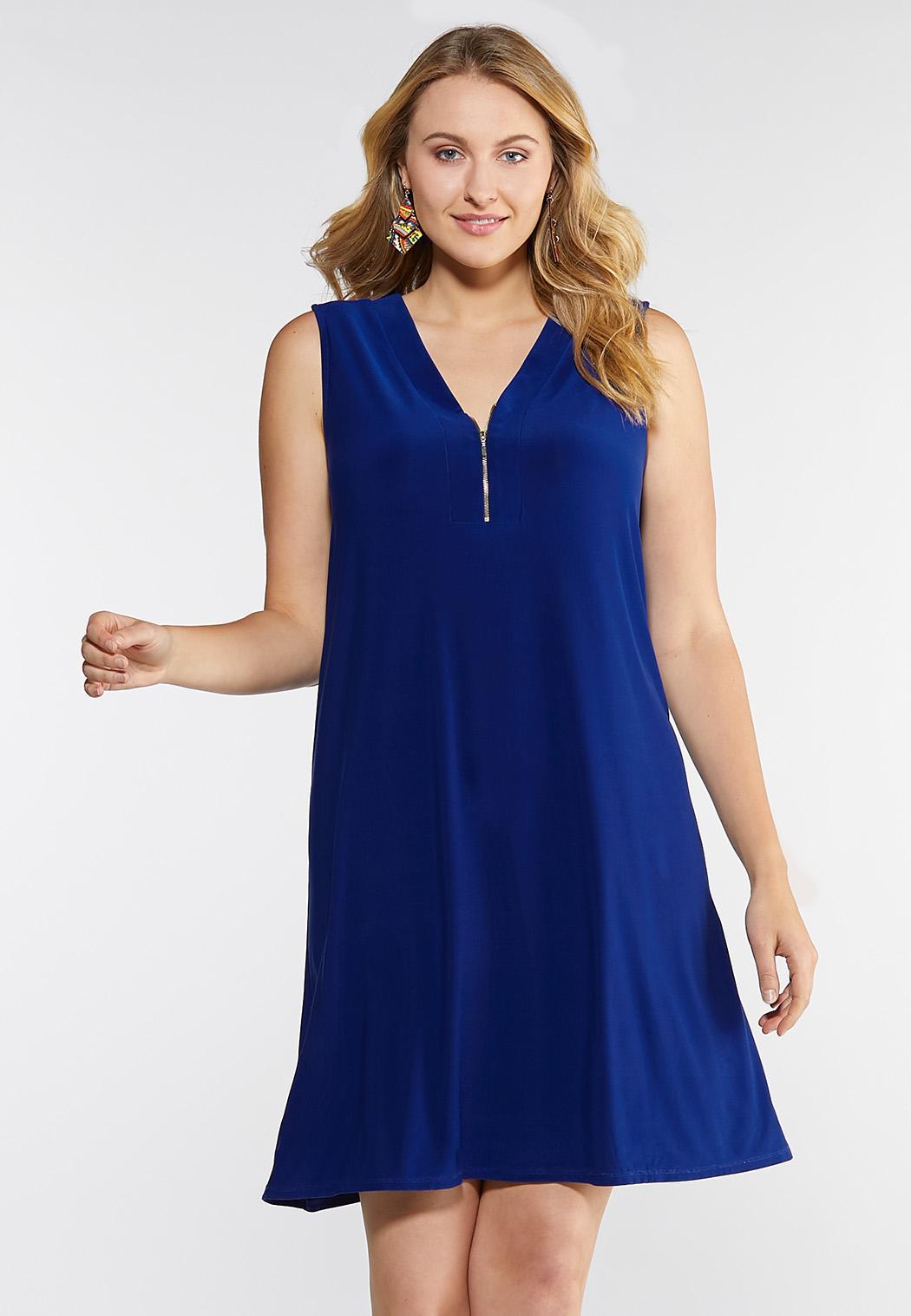 Plus Size Zip Front Swing Dress