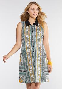 Plus Size Status Print Collared Shirt Dress