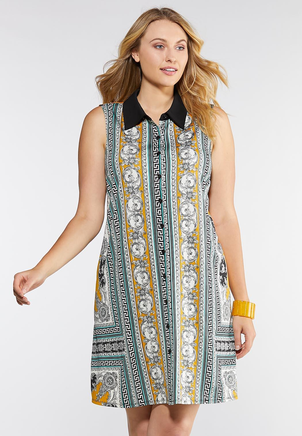Plus Size Status Print Collared Shirt Dress Dresses Cato Fashions