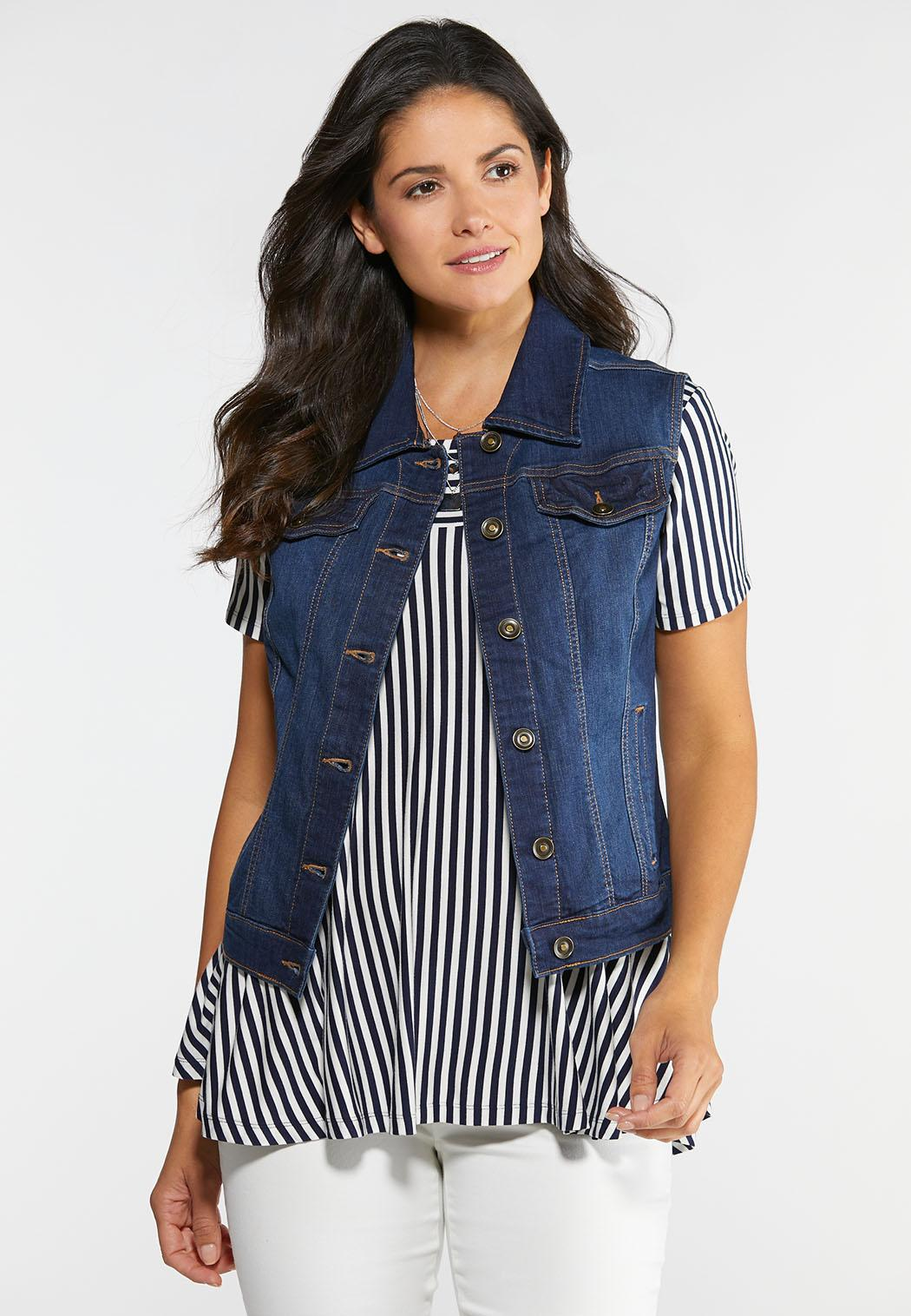 Plus Size Dark Denim Vest