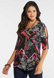 Plus Size Puff Print Cold Shoulder Top
