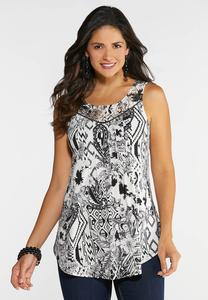 Plus Size Lace Yoke Abstract Tank