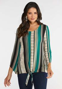 Plus Size Puff Stripe Knotted Top