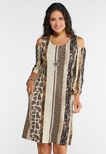 Cold Shoulder Animal Dress