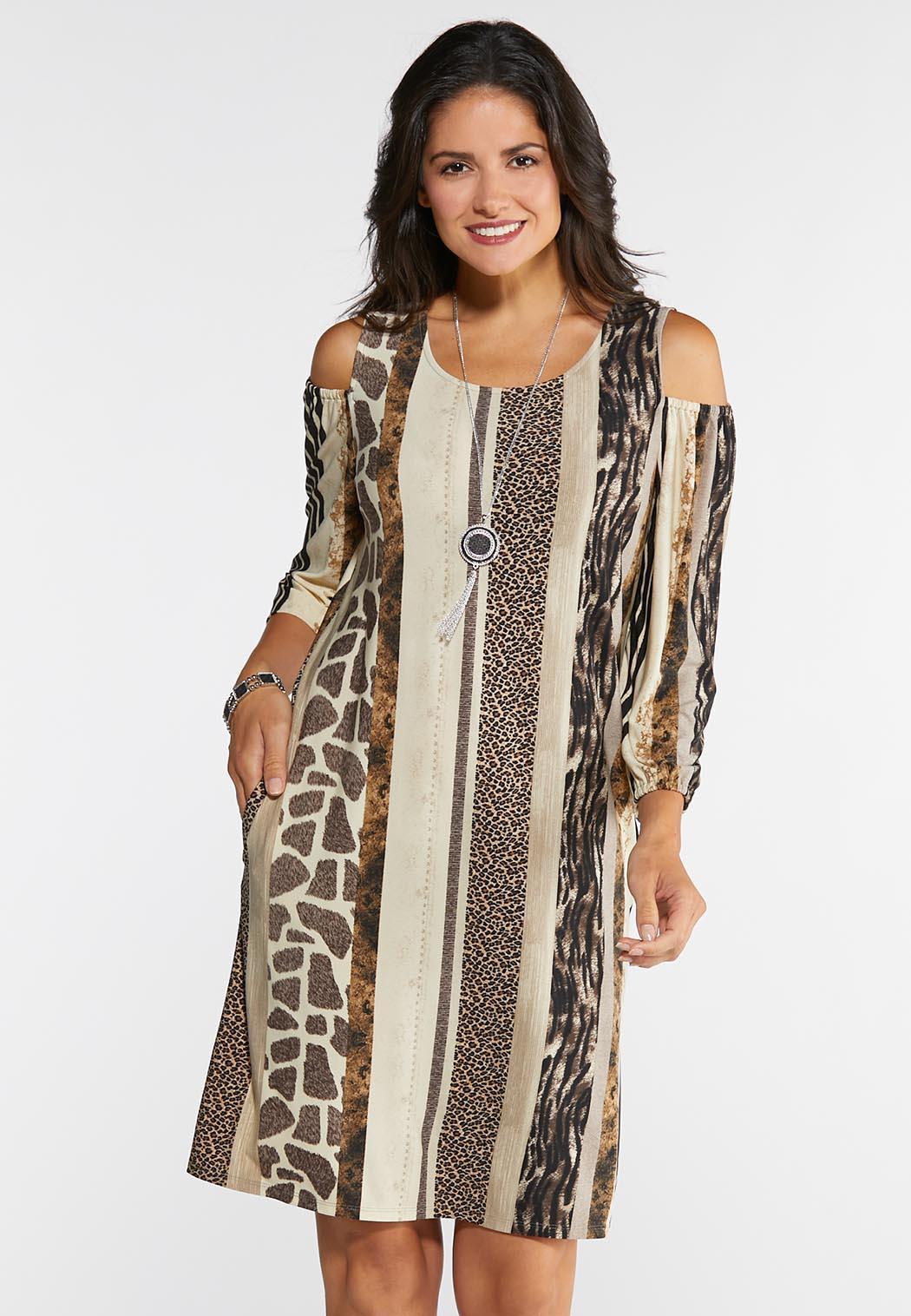 2bdc420c2e439 Plus Size Cold Shoulder Animal Dress