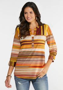Plus Size Sunset Striped Top