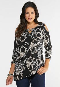 Plus Size Cold Shoulder Puff Print Top