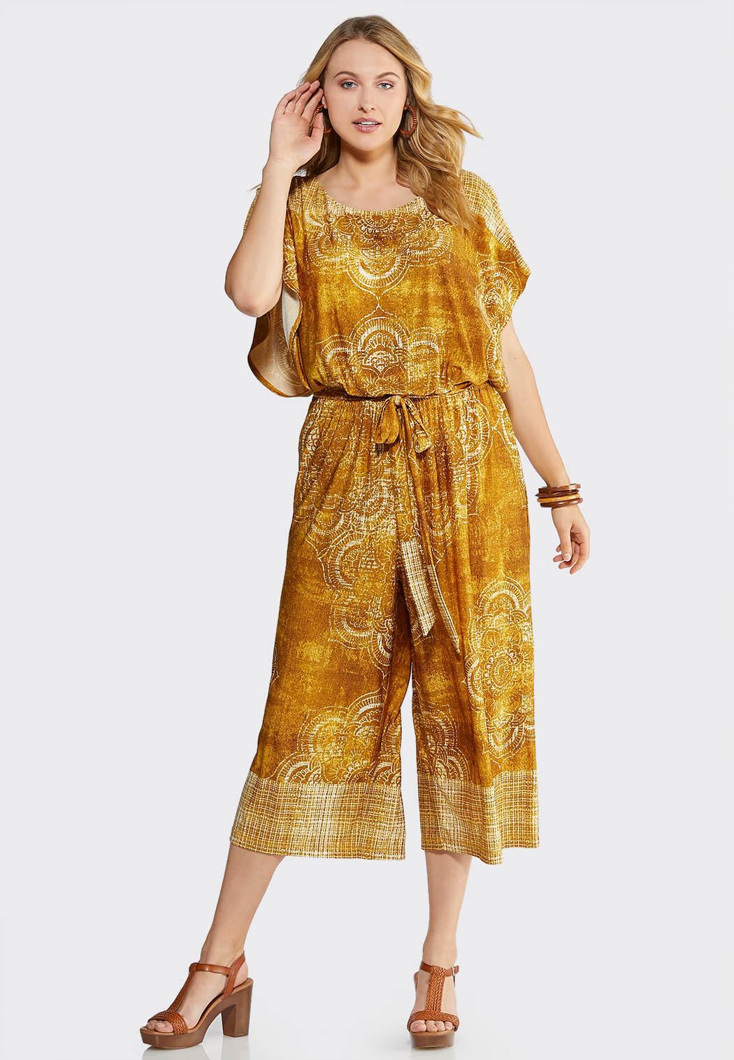 Plus Size Golden Cropped Jumpsuit