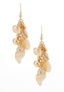 Shell Cluster Dangle Earrings
