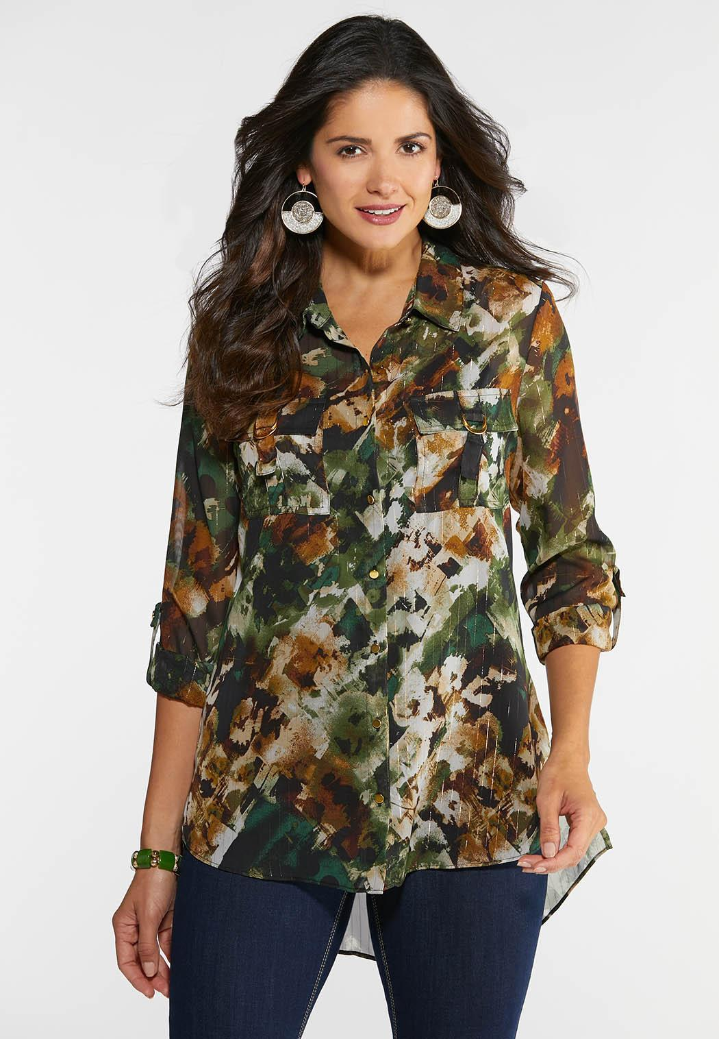 Plus Size Camo Shimmer Top