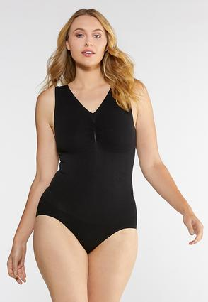 Plus Size V- Neck Seamless Bodysuit