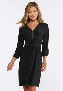 Plus Size Solid Tie Waist Shirt Dress